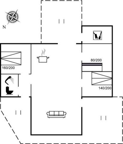 Grundplan over sommerhuset Sandrenden 30
