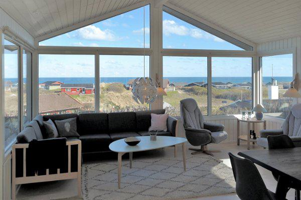The view of the ocean from inside the holiday home